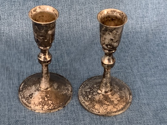 SILVER PLATE CANDLESTICK HOLDERS!