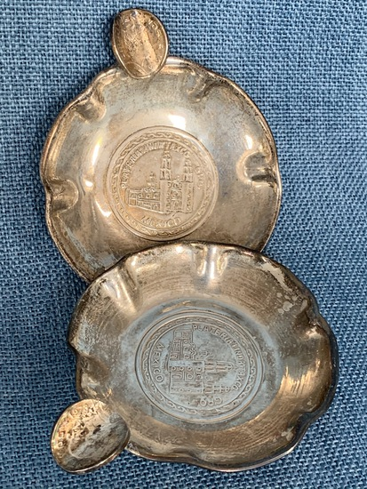 SILVER PLATE ASHTRAYS!