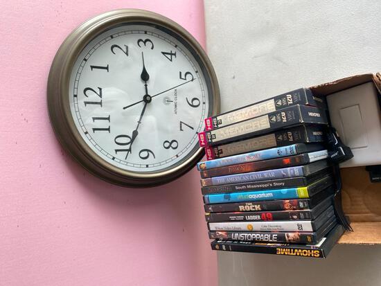 Misc. Lot - DVD's/Clock