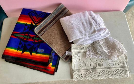 Misc. Lot - Wool blanket, towels, rug, doilies