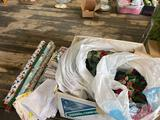 Artificial flowers, tablecloths, wrapping paper