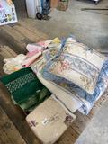 Lot of bedding/ curtain/doilies, pillows