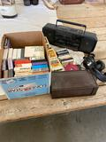 VCR, cassettes, radio, headphones