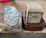Sewing basket, ironing board, suitcases