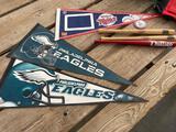 Philadelphia eagle/MN Twins pennants, bats
