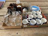 Glasses, cups, plates, Steine