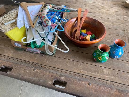 Hangers, wooden bowl w/ utensils, Vases, knickknacks