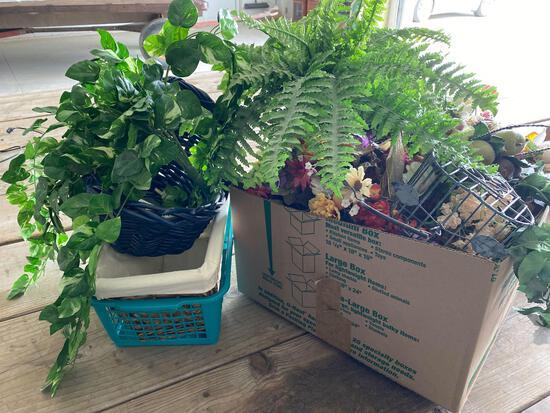 Artificial flowers, baskets