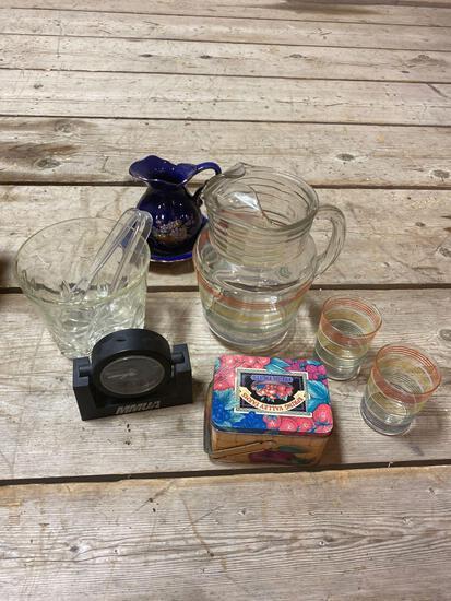 Pitchers, glassware, ice bucket