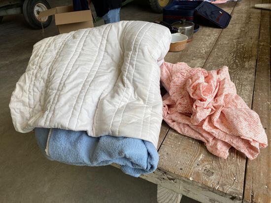 2 - Full size sheet set, bedspread, blanket