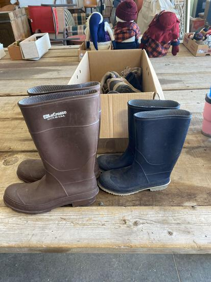Chore boots (sizes 12mens/6women), misc. shoes