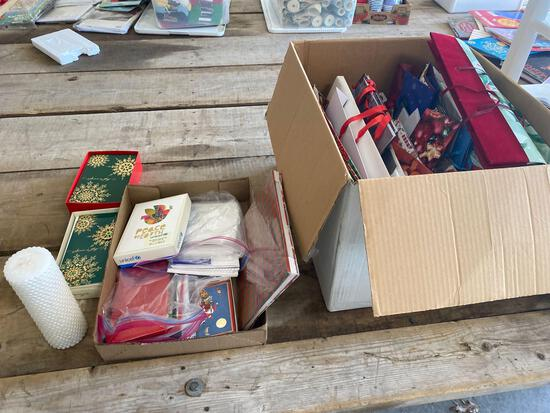 Cards, candle, gift bags