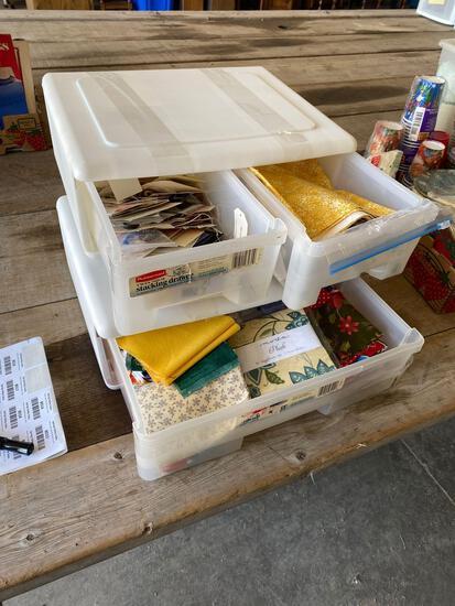 Storage drawers, craft supplies, fabric