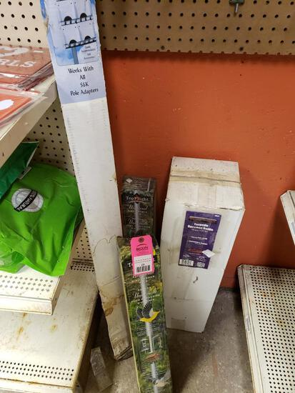 Qty 4 - Assorted bird feeder poles and accessories. New.