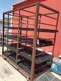 Heavy duty steel plant rack on casters.