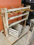 Antique wooden rack with crate as pictured.