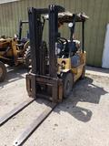 5000lb Caterpillar propane forklift. Pneumatic tires, triple stage mast with side shift.