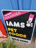 Iams pet food metal sign.