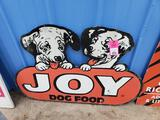 Joy dog food metal sign.
