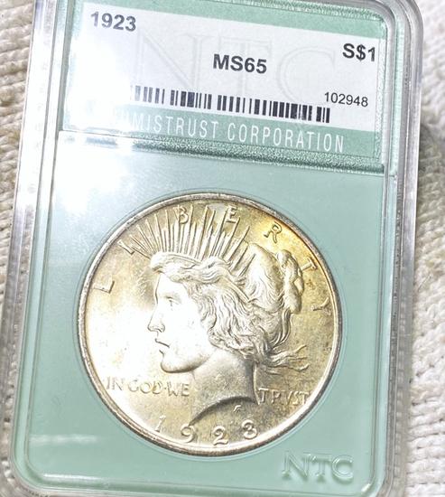1923 Silver Peace Dollar NTC - MS65