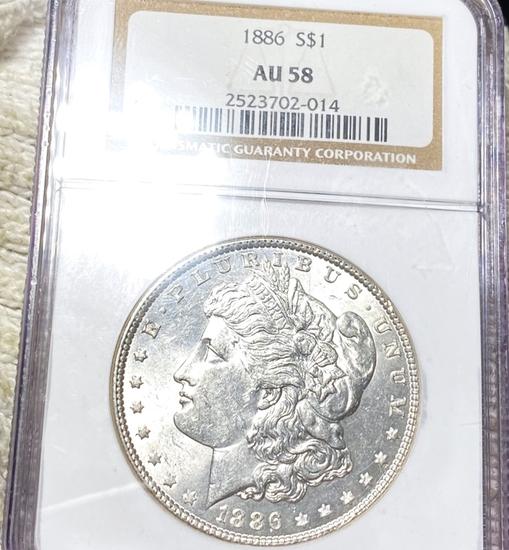 1886 Morgan Silver Dollar NGC - AU58