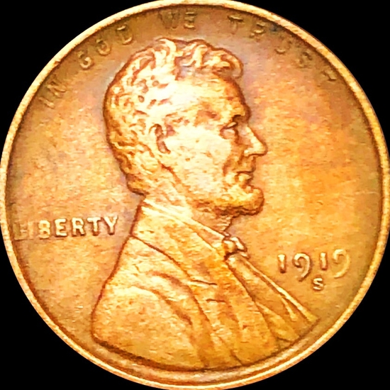 1919-S Lincoln Wheat Penny ABOUT UNCIRCULATED