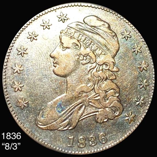 1836 8/3 Capped Bust Half Dollar LIGHTLY CIRC