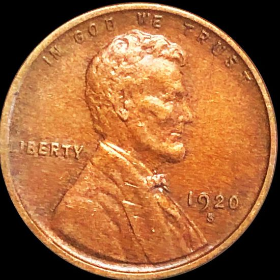 1920-S Lincoln Wheat Penny NEARLY UNC