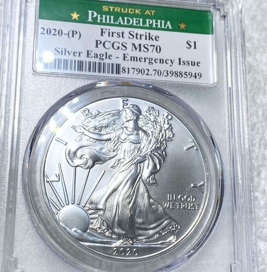 2020-P Emergency Issue Silver Eagle PCGS - MS70