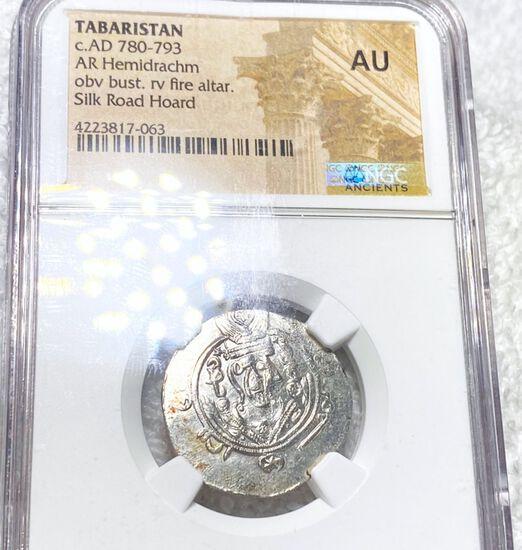 780-793 AD. Tabaristan Coin NGC - AU