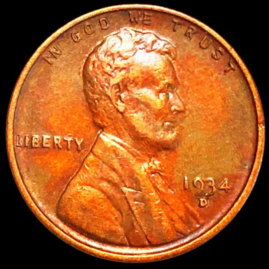 1934-D Lincoln Wheat Penny CLOSELY UNC