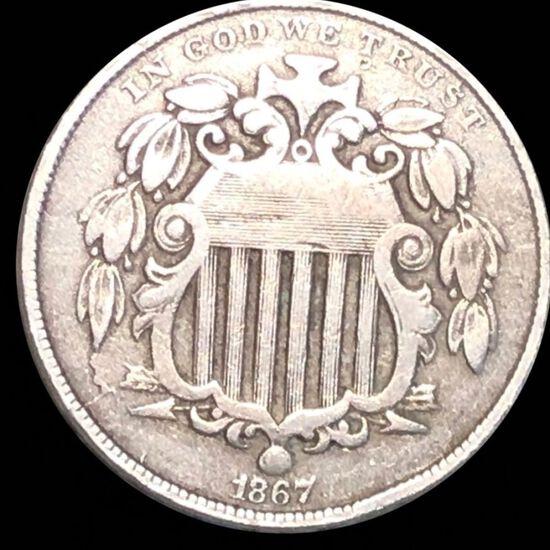 1867 Shield Nickel NICELY CIRCULATED