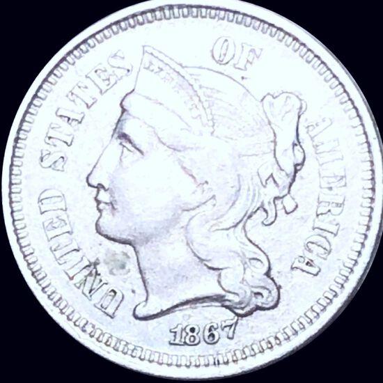 1867 Three Cent Nickel LIGHTLY CIRCULATED
