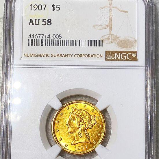 1907 $5 Gold Half Eagle NGC - AU58