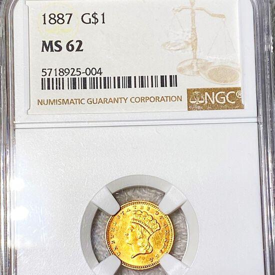 1887 Rare Gold Dollar NGC - MS62