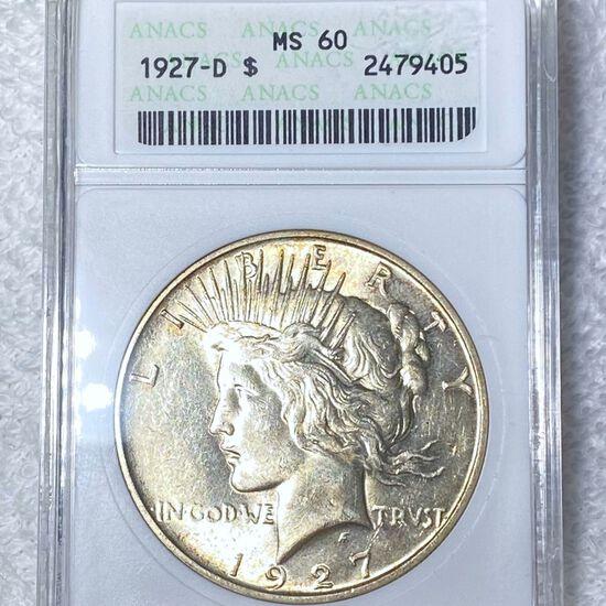 1927-D Silver Peace Dollar ANACS - MS60