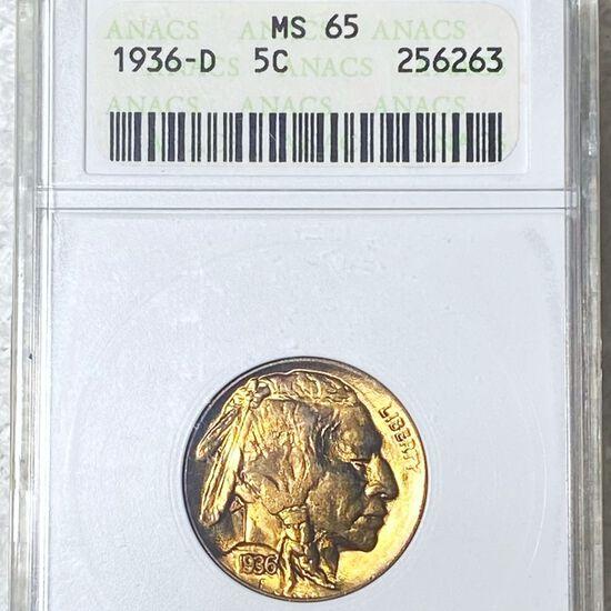 1936-D Buffalo Head Nickel ANACS - MS65