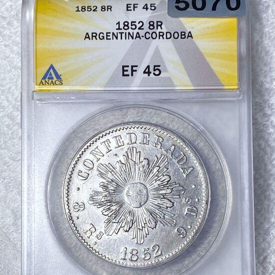 1852 Argentina Silver 8 Reales ANACS - EF45