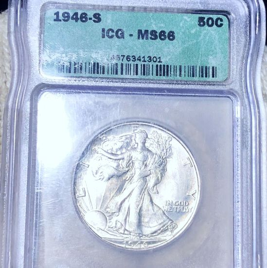 1946-S Walking Half Dollar ICG - MS66
