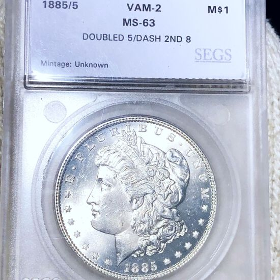 1885/5 Morgan Silver Dollar SEGS - MS63 VAM-2