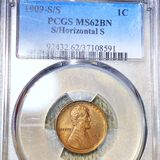 1909-S/S Lincoln Wheat Penny PCGS - MS 62 BN
