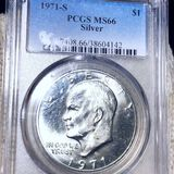 1971-S Eisenhower Silver Dollar PCGS - MS66