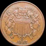 1867 Two Cent Piece ABOUT UNCIRCULATED
