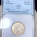 1890-1908 Chinese Silver 20 Cents NNC - AU58