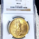 1913 $20 Gold Double Eagle NGC - MS61