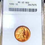 1930 Lincoln Wheat Penny ANACS - MS 63 RED