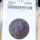 1802 Draped Bust Large Cent ANACS - F15