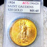 1924 $20 Gold Double Eagle ACG - MS65