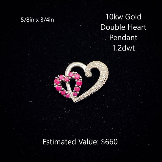 10kt Double Heart Pendant 1.2dwt