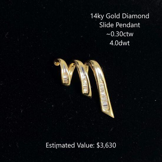 14kt Diamond Slide Pendant ~0.30ctw, 4.0dwt